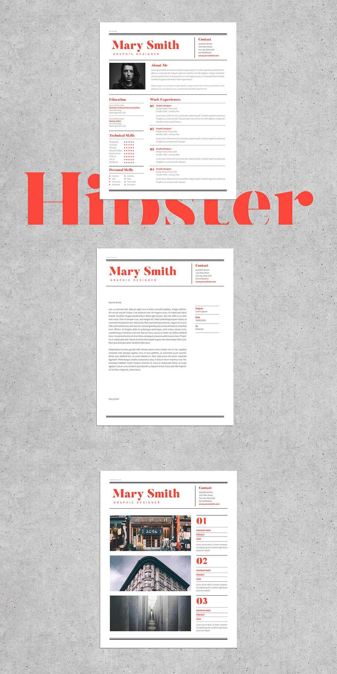 Hipster Resume Template Indesign Indd  Design    Template