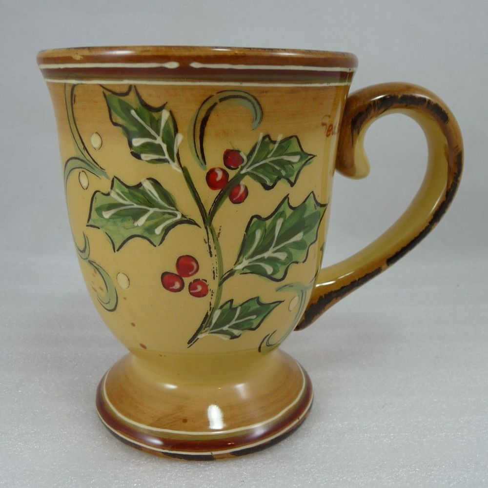 Maxcera YELLOW Holly Script Footed Coffee Tea Mug 16 Oz Oversize Large Christmas in Pottery \u0026 Glass Pottery \u0026 China China \u0026 Dinnerware & Maxcera YELLOW Holly Script Footed Coffee Tea Mug 16 Oz Oversize ...