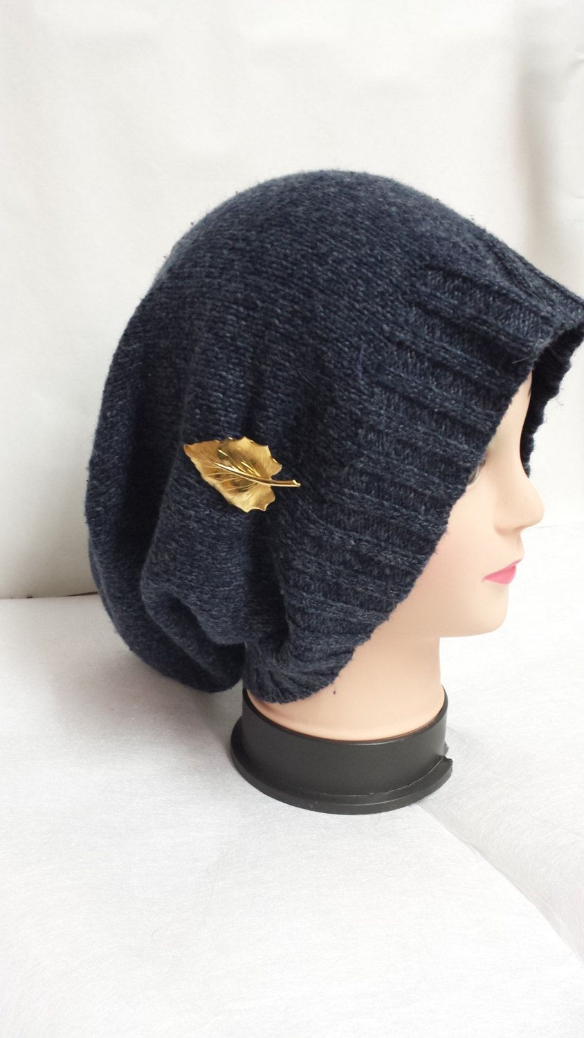 f40dd4129e2 Dark blue satin Lined Oversized beanie by HULDAHBOUTIQUE on Etsy ...