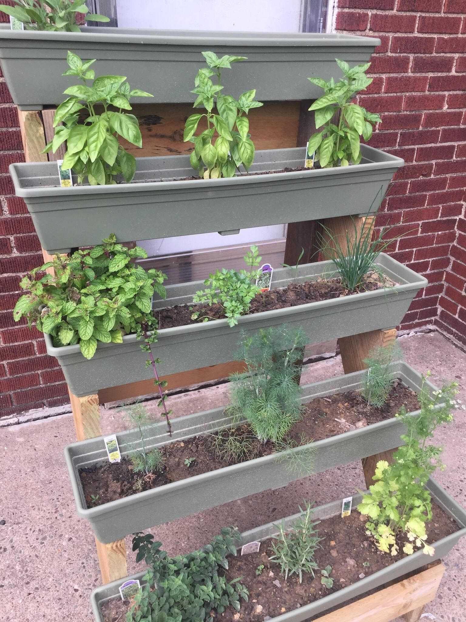 Planter For Herbs Update Turned The Homemade Multilevel Planter Into An Herb Garden