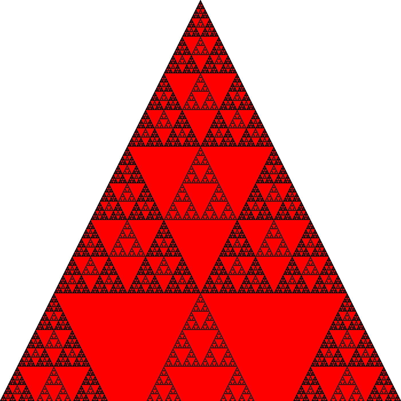 Pascal S Triangle With Multiples Of 4 In Red