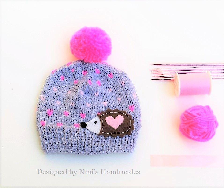 47094ad30fe CHUNKY Knit Fair Isle inspired Hedgehog Pom Pom Beanie Hat