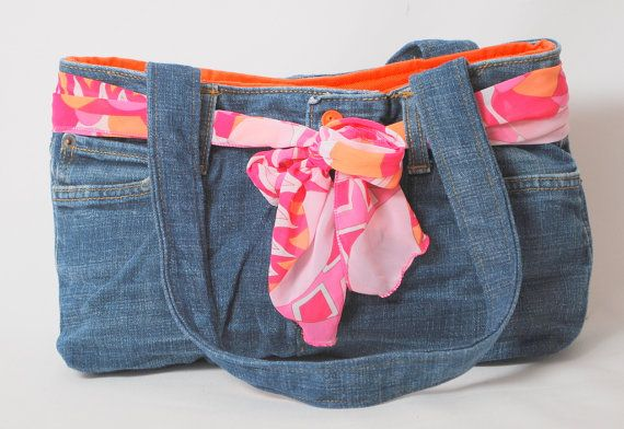 Blue Denim Recycled Jean Purse with Orange lining