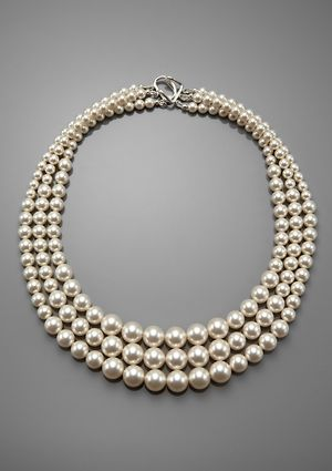 Vintage Estate 3 Strand 7.5mm 8mm Baroque Cultured Pearl Necklace Sterling Clasp Retro, Vintage 1930s-1980s