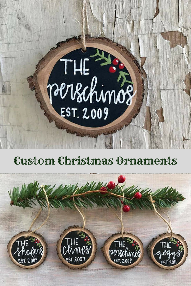 Cute Gift Idea Wooden Ornament Custom Christmas Ornament Family Name Ornament Rustic Ornament Wood Slice Ornament Christmas Tree Ornament Affiliate