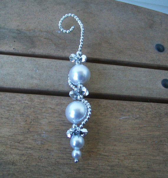 Elegant Silver And Pearl Icicle Ornament 4 00 Usd By