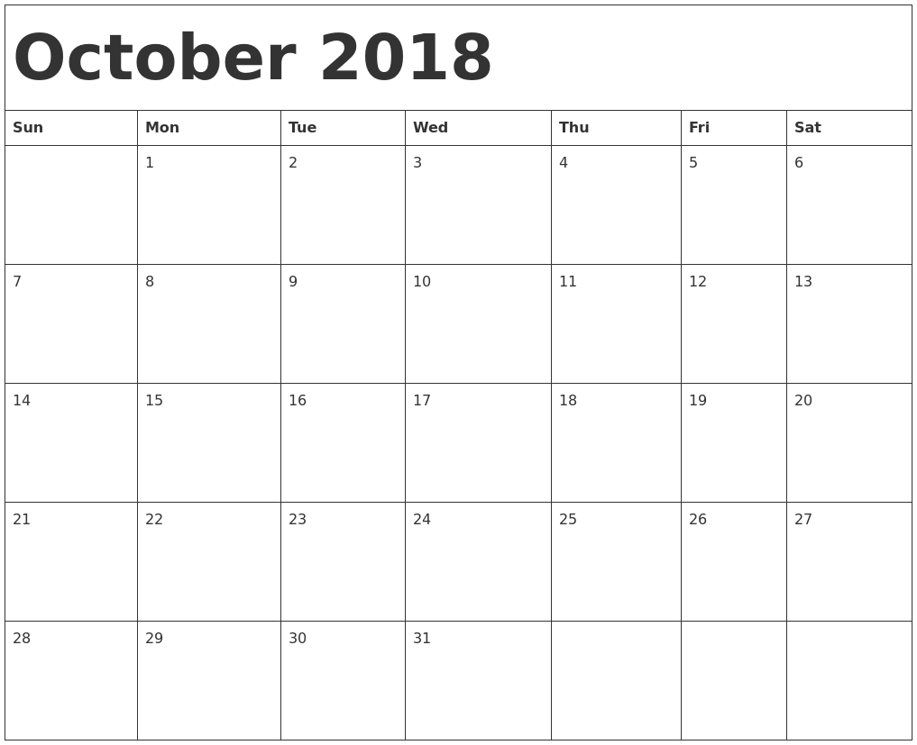 Pin On October Calendar 2018 Template