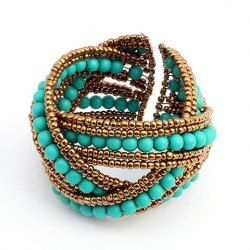 $3.26 Bohemian Chic Style Crossed Bicolor Beading Cuff Bracelet For Women