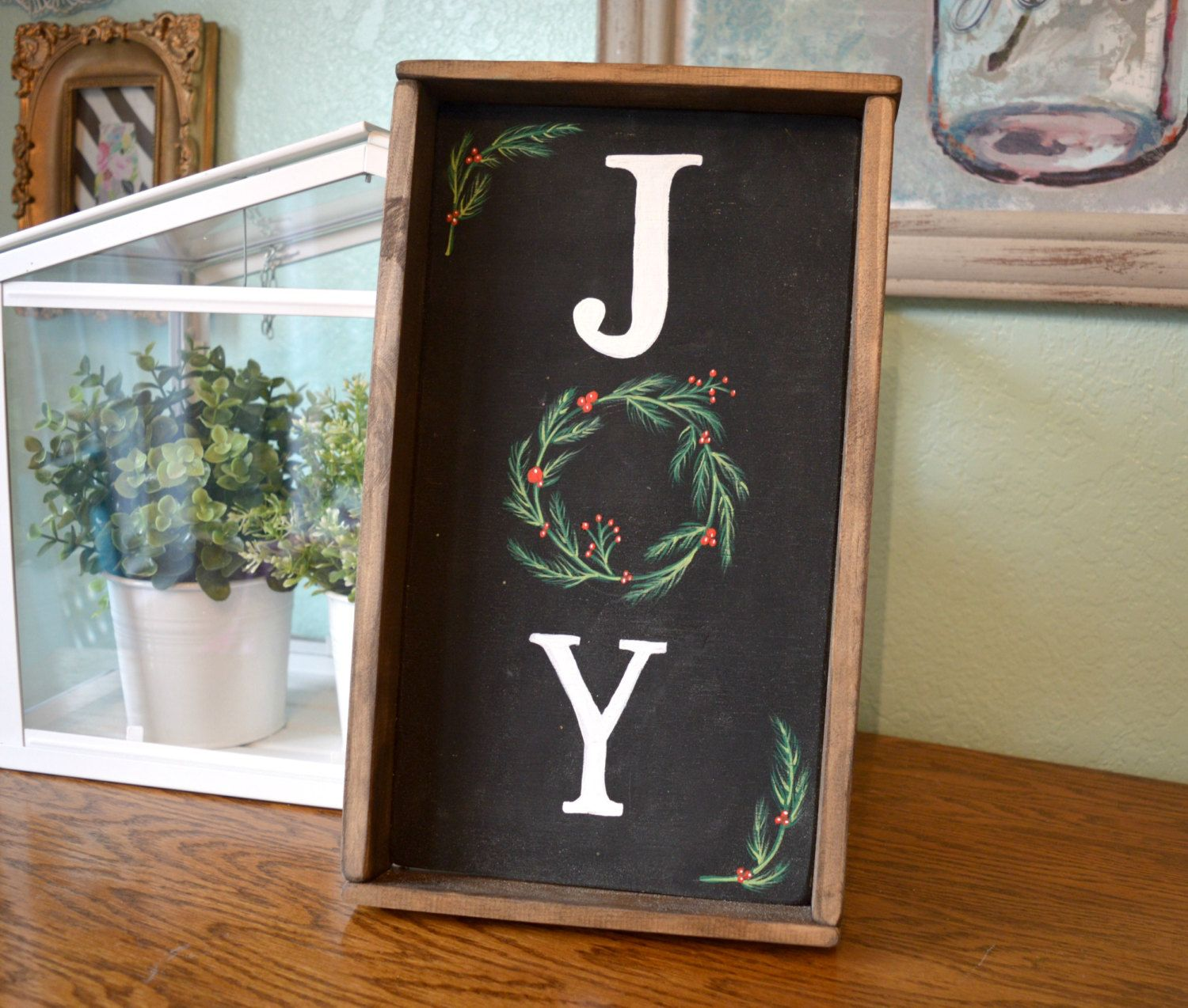 Hand painted wood sign joy christmas wreath sign rustic wood wall