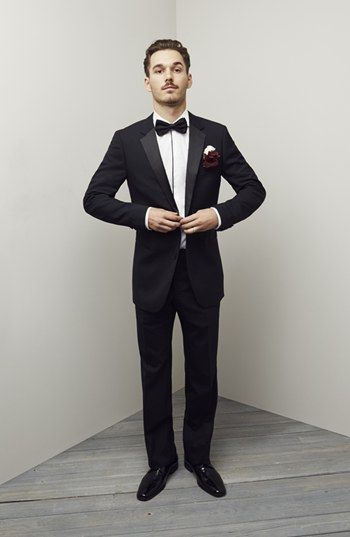 HUGO  Aikin Hollo  Trim Fit Wool Tuxedo  4d4d6ed9fff