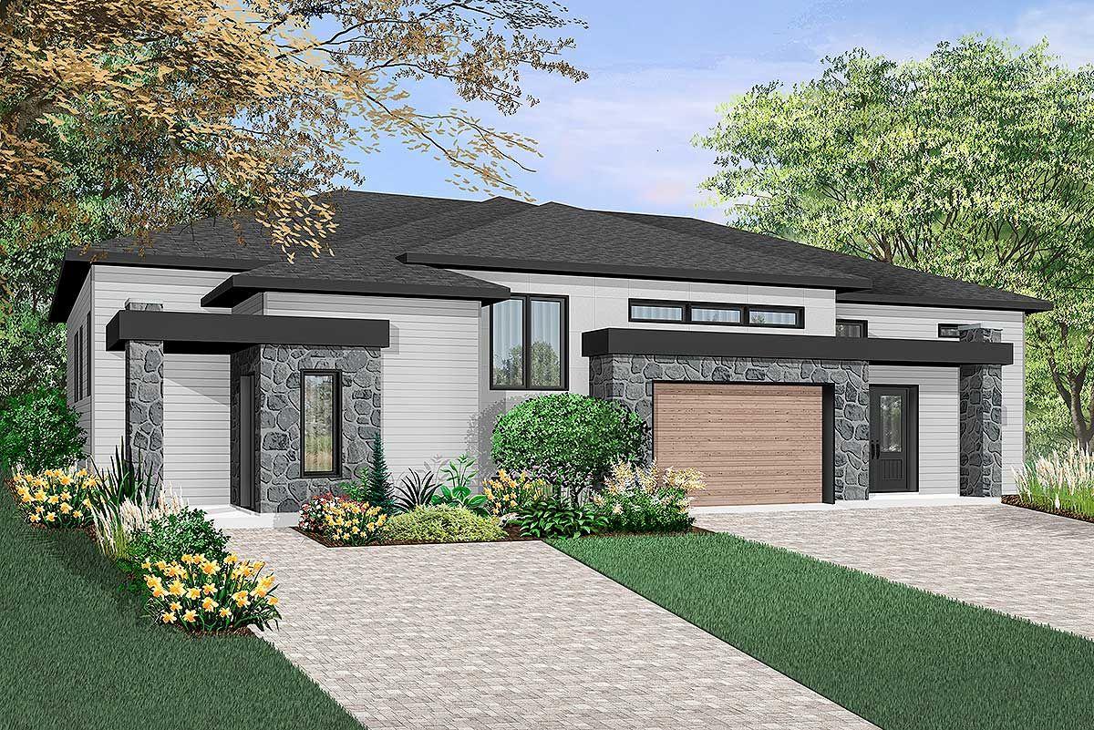 Plan 22483dr Contemporary Duplex In 2021 Duplex House Design Duplex House Plans Drummond House Plans