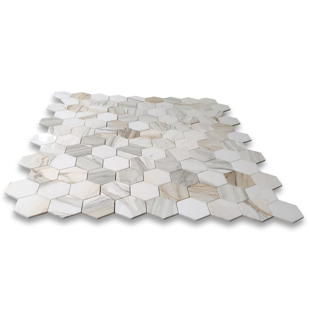 Calacatta Gold Marble 4 Inch Hexagon Mosaic Tile Polished In 2020 Hexagonal Mosaic Hexagon Mosaic Tile Calacatta Gold Marble