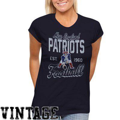 New England Patriots Ladies Vintage Team Spirit T-Shirt - Navy Blue
