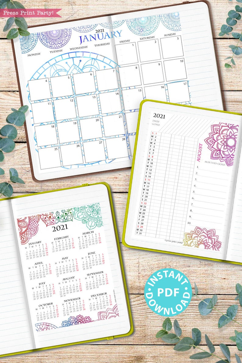 MONDAY Start 2021 Calendar Printable Set Mandala ...