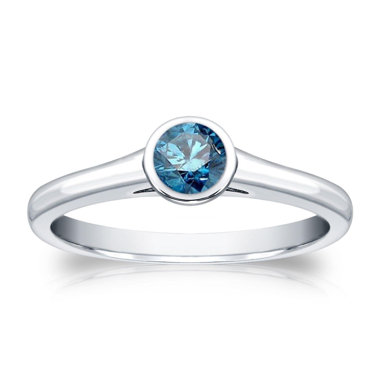 Auriya 14k 1/3ct TDW Round Blue Diamond Solitaire Bezel Ring (Blue, I1-I2) (Yellow Gold - Size 8), Women's