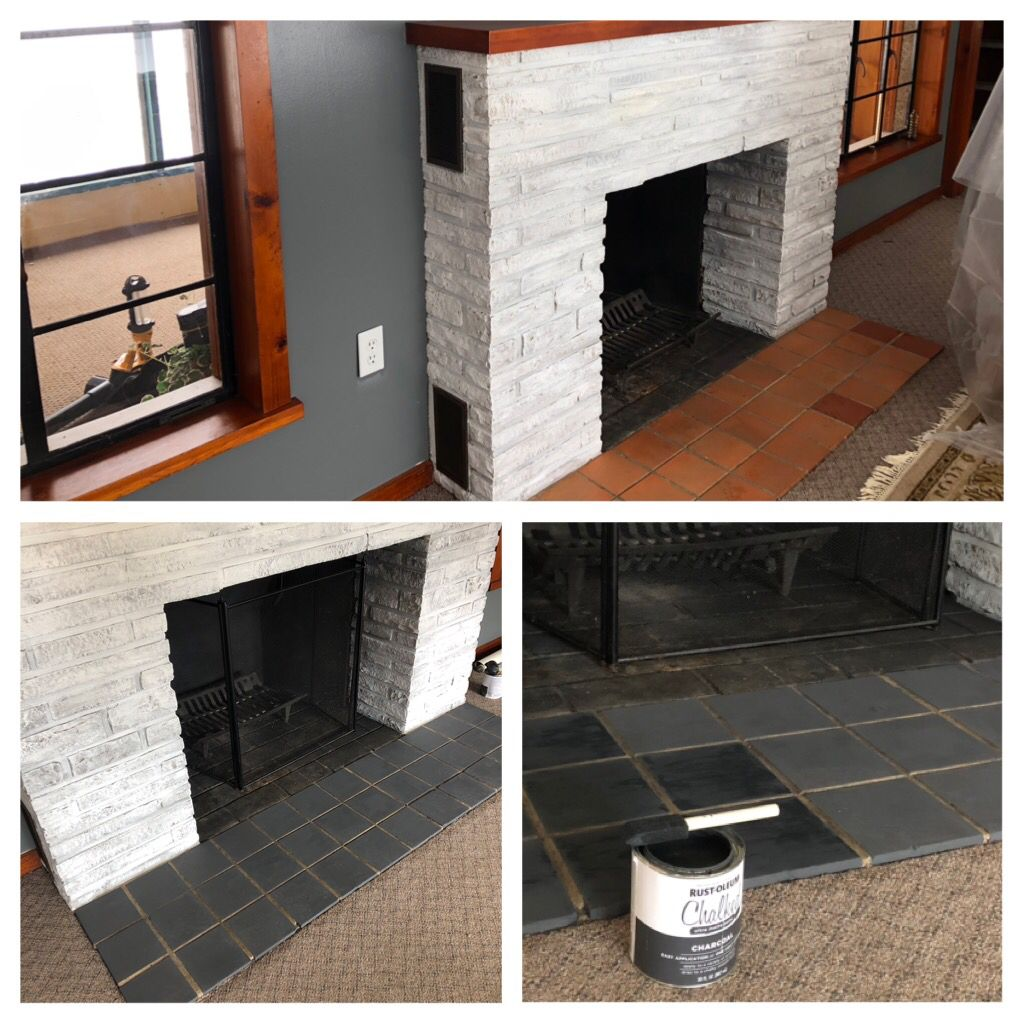 Chalk Painted Tile Paint Fireplace Tile Painting Tile Paint Fireplace