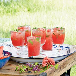 Honeysuckle-Watermelon Cocktails Recipe- you can substitute the vodka for sprite for family fun.