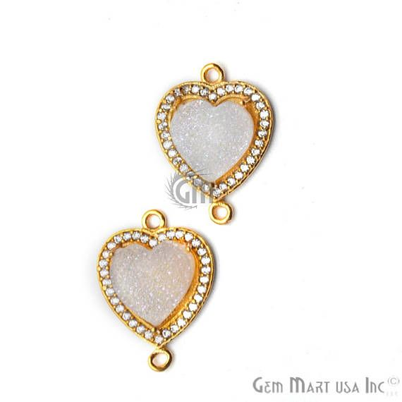 Druzy Connector Gold 10mm Heart Cz Pave Jewelry Making