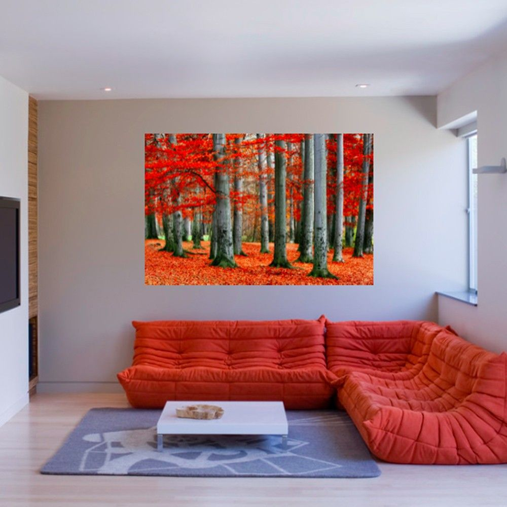 living room art prints%0A Fiery red leaves pop against gray tree trunks in the Autumn Forest   Large  Canvas Art