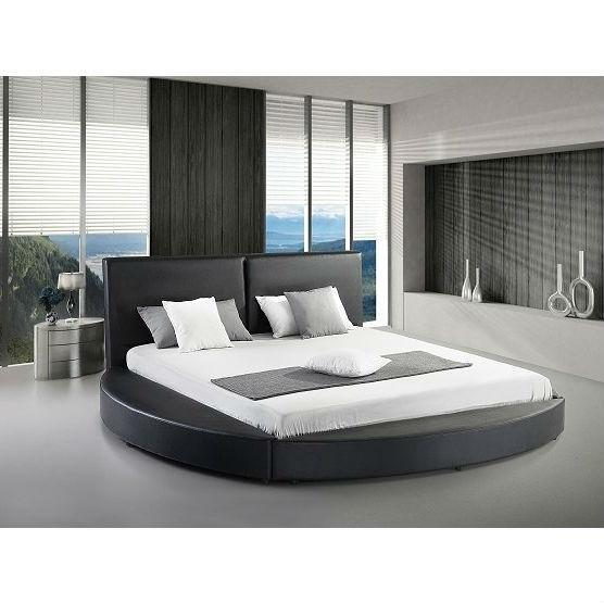 Queen Size Modern Round Platform Bed With Headboard In Black Faux Leather Modern Platform Bed Round Beds Bedroom Bed Design