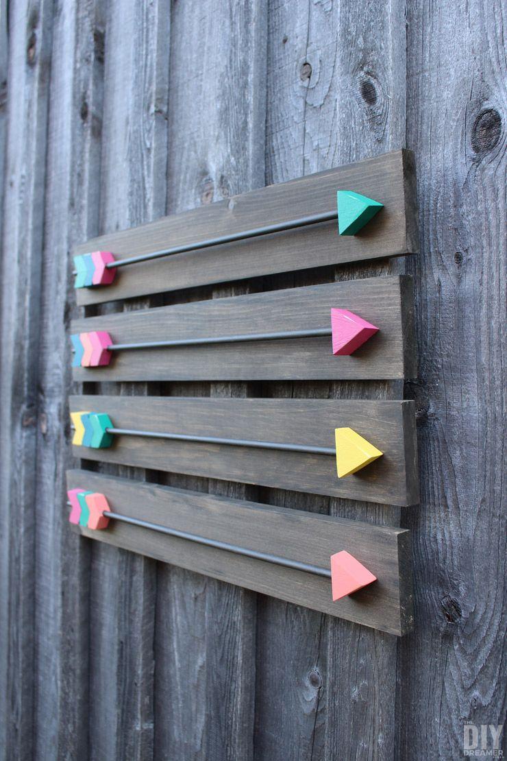 arrow wall decor diy wood arrows wall art wood arrow. Black Bedroom Furniture Sets. Home Design Ideas