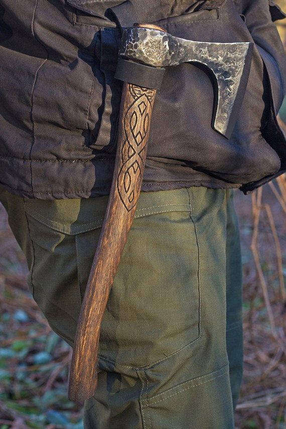 Hand Forged Viking Axe High Carbon Steel Leather Case