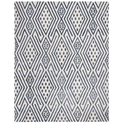 Wrought Studio Rosella Hand Tufted Wool Cotton Navy Ivory Area Rug