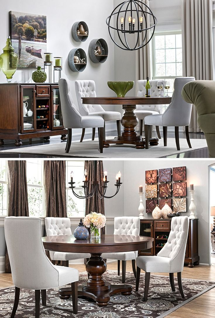 Fallon 5 Pc Dining Set Dining Sets Raymour And Flanigan Furniture Mattresses Round Dining Room Table Dark Wood Dining Room Table Round Wood Dining Table #round #living #room #table #sets