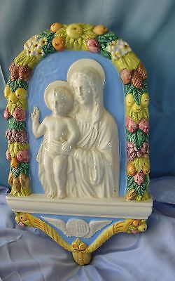 HAND PAINTED MOTHER AND CHIILD CERAMIC PLAQUE