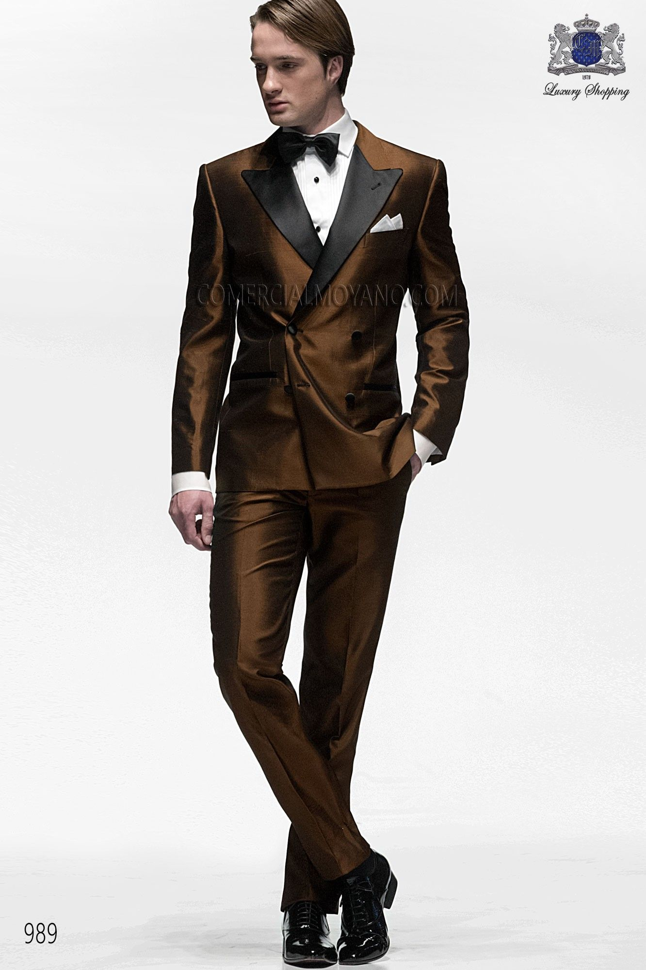 Italian bespoke suit, brown double breasted tuxedo in silk ...
