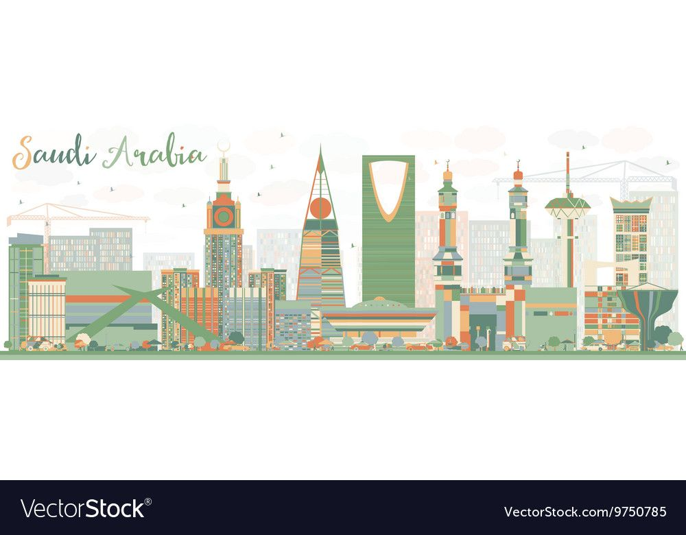 Abstract Saudi Arabia Skyline With Color Landmarks Affiliate Arabia Saudi Abstract Landmarks Ad Vector Free Free Vector Images Vector Images