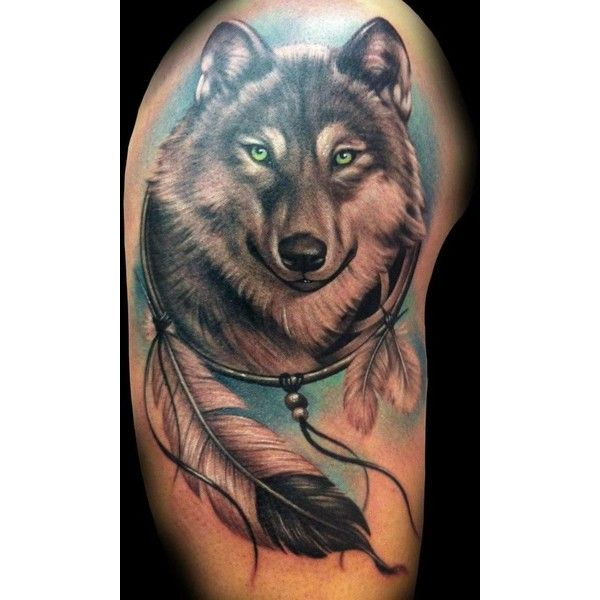 Wolf Dreamcatcher Tattoo Tattoos Liked On Polyvore Featuring Accessories Body Art Tattoos And Wolf Dreamcatcher Tattoo Wolf Tattoos Men Wolf Tattoo Design