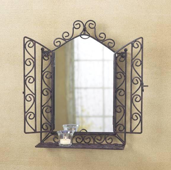 rod iron living room | wrought iron wall mirror decor ...