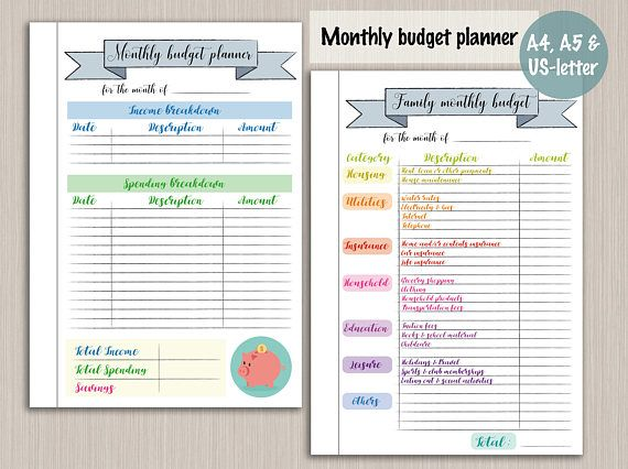 Budget Planner Printable Template Digital Pdf Bujo Bullet Journal