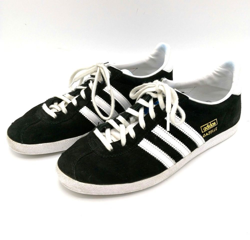 Adidas Gazelle Shoes Black Suede White Men s US 5.5 Sneakers Old School  Soccer  fashion  clothing  shoes  accessories  mensshoes  athleticshoes  ad  (ebay ... aaded0738