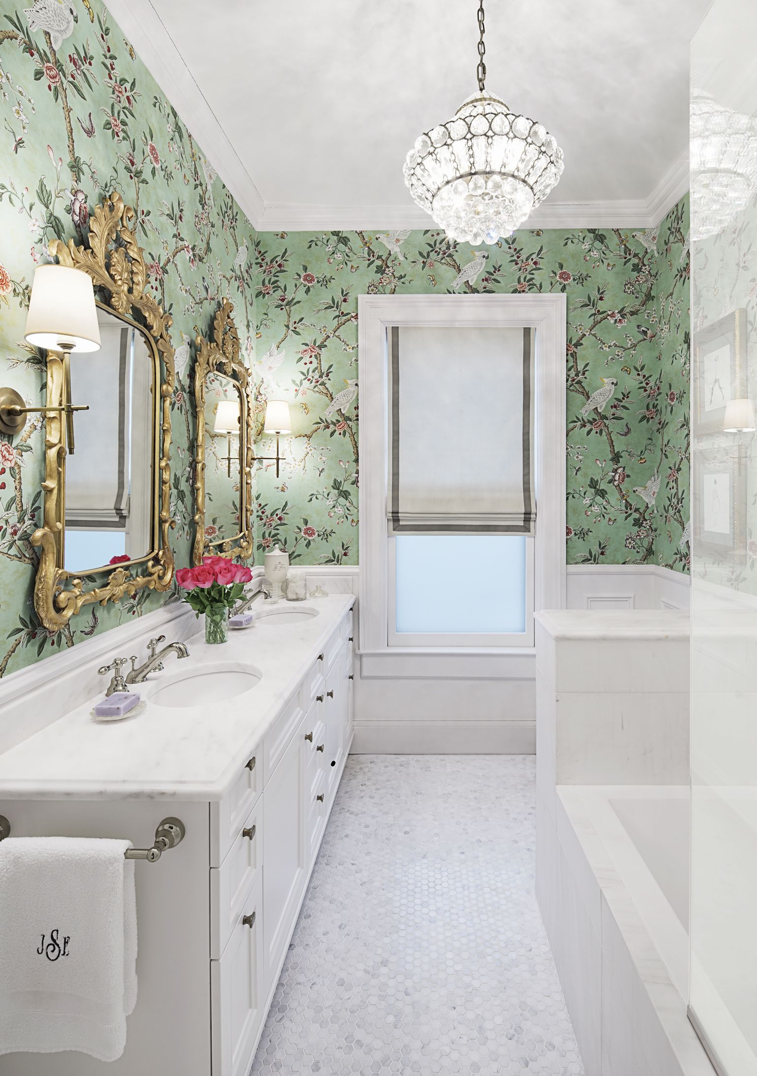 House Beautiful - BATH OF THE MONTH: Grown-Up Glamour  Glamorous