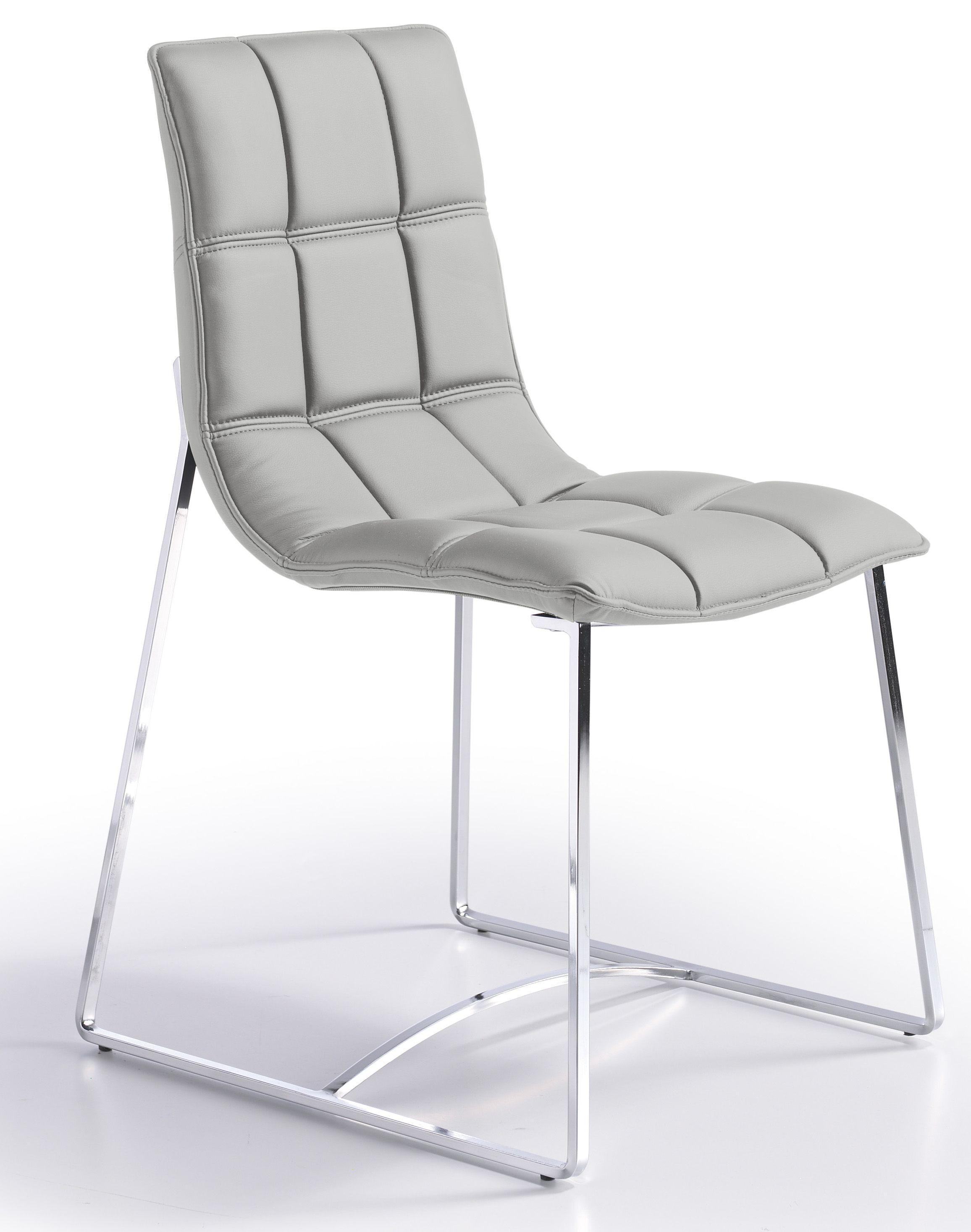 Designer Chaise design matelassée simili gris perle Koza