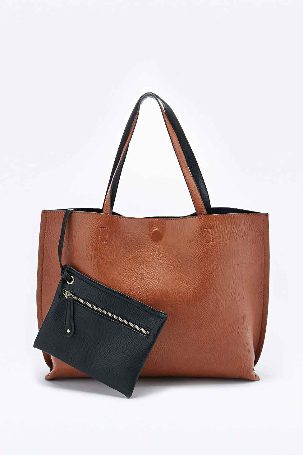 Leather Black Vegan Oversized Tote And In Bag Tan Reversible wv0yNOm8n