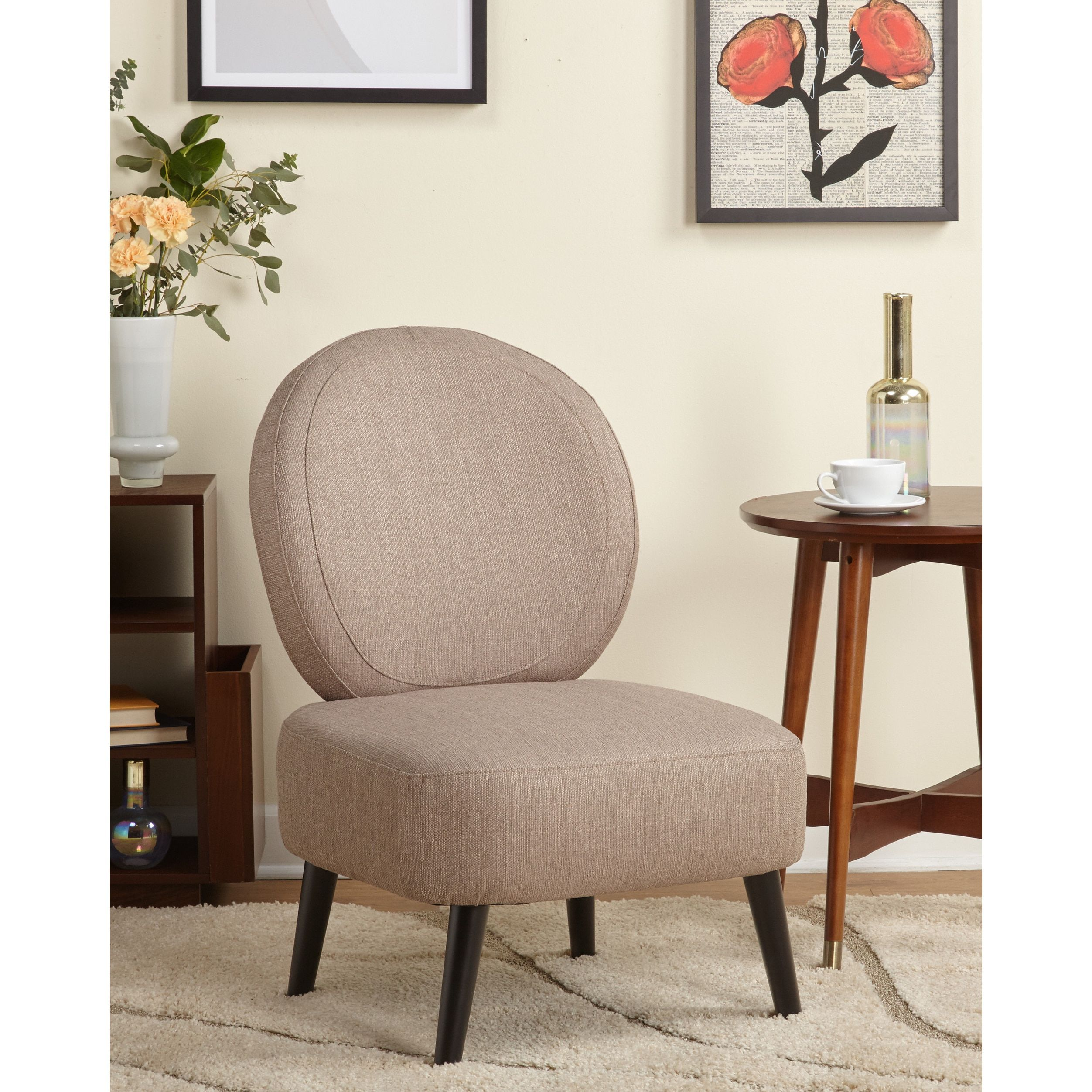 Simple Living Dana Mid Century Accent Chair Taupe Brown Fabric