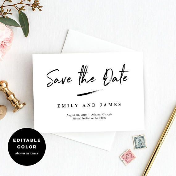 modern save the date template editable color wedding save editable