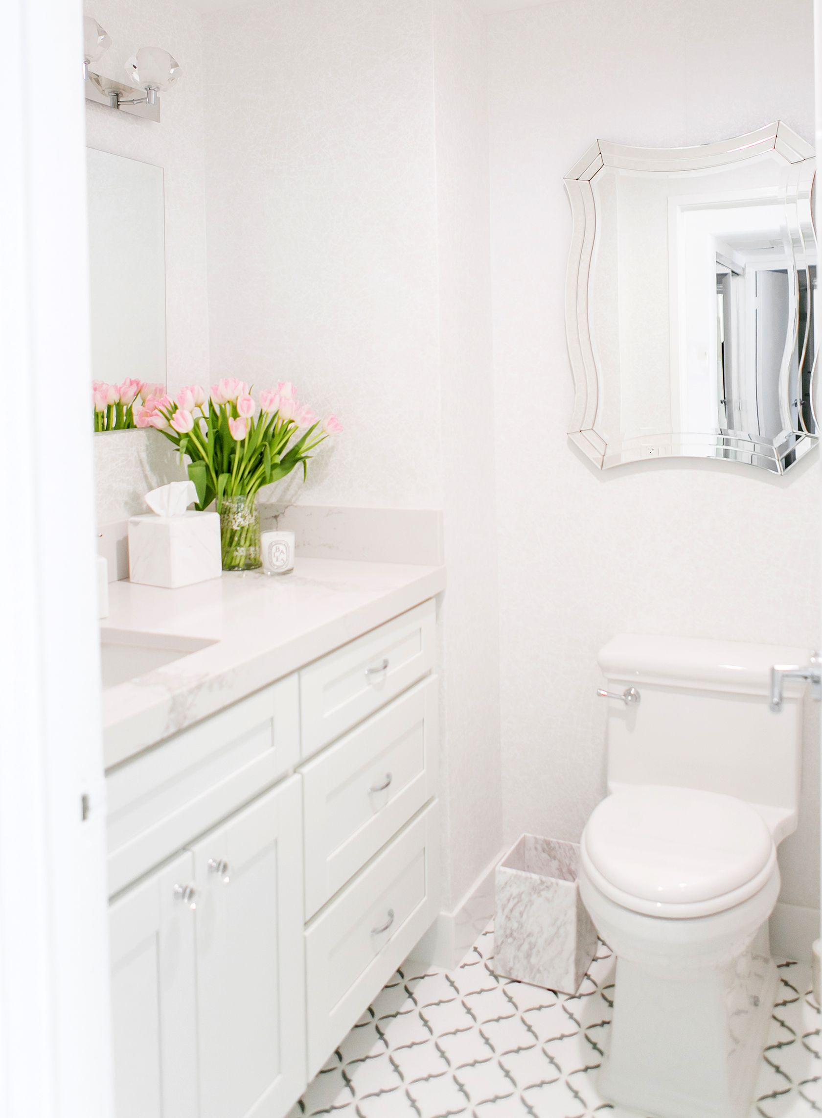 Sydne Style shows how to create a white powder room with marble ...