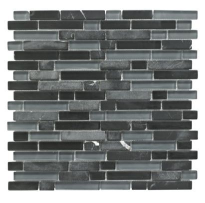 Colours Single Black Stone And Glass Linear Mosaic Wall Tile L 300