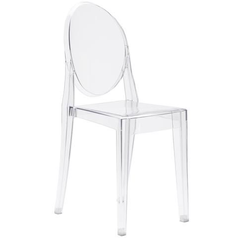 Burton Ghost Side Chair In Clear | Modern Dining Chair by EdgeMod at Contemporary Modern Furniture  Warehouse - 1
