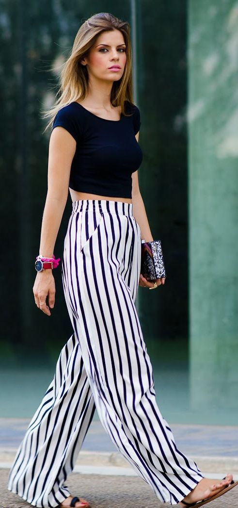 Zara Black And White Stripe Mid Rise Palazzo Pants by Ms ...
