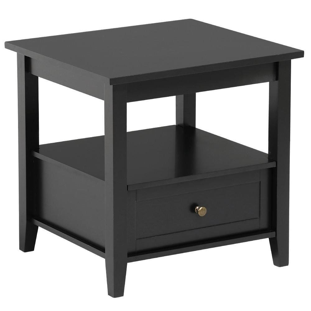 Best Topeakmart Black End Table With Bottom Drawer And Open 400 x 300