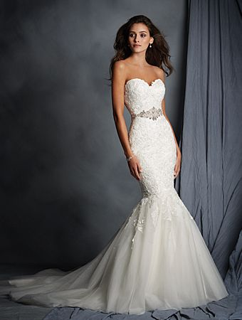 Alfred Angelo Style 2526: Strapless wedding dress of embroidered ...