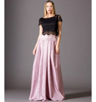 52129a275f10 Φούστα Σατέν Μακριά - Ροζ Αντικέ Φωτογραφία Μόδας