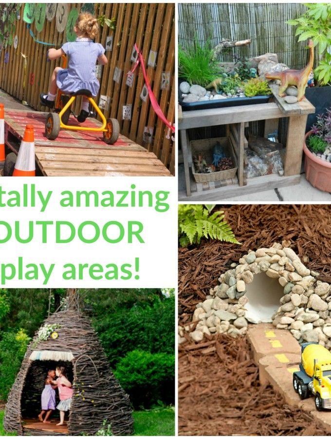 Loads of ideas for inspiring outdoor play areas in this big collection!