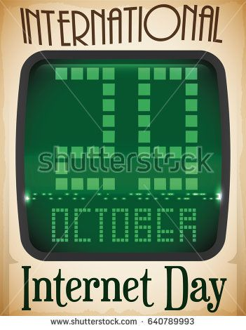 Poster With Retro Computer Screen With Reminder Date For Internet Day In October 29