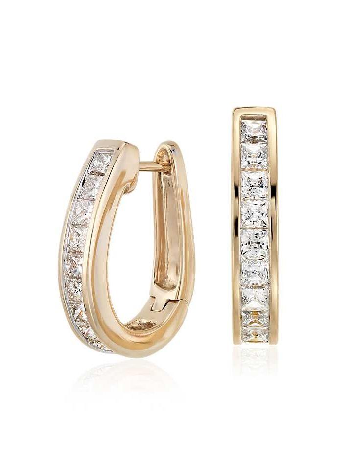 Princess Cut Hoop Diamond Earrings In 14k Yellow Gold 1 5 Ct Tw Blue Nile